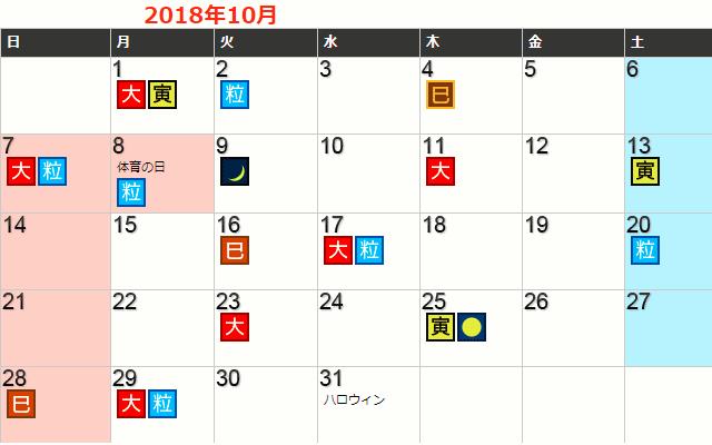 2018年10月の開運日一覧カレンダー
