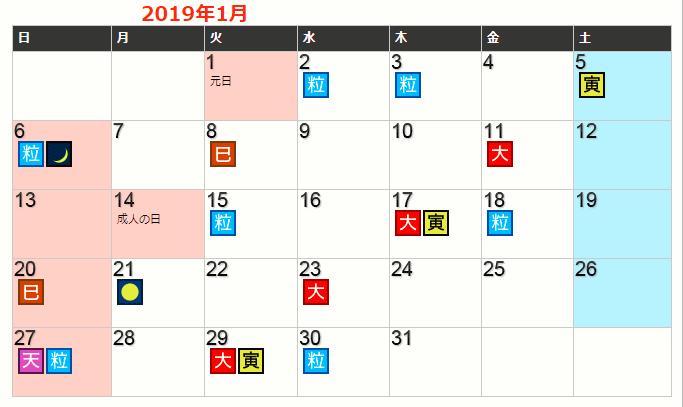 2019年1月の開運日カレンダーを見て財布を買う日を決める