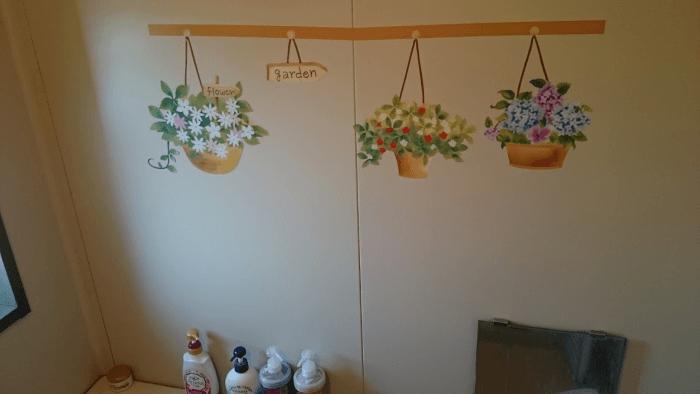 バスルームに観葉植物ポットシール