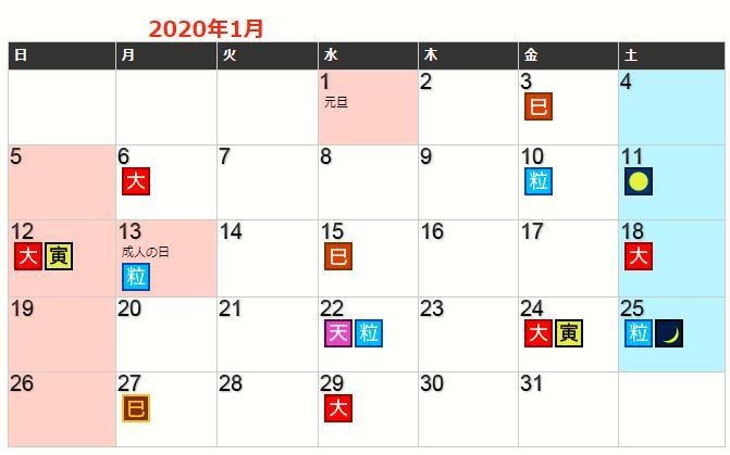 令和2年1月の開運カレンダー