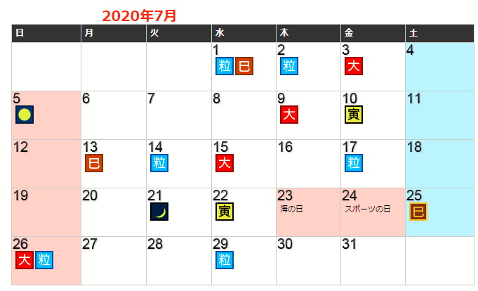 令和2年7月の開運カレンダー