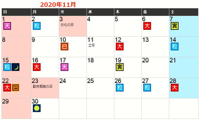 令和2年11月の開運カレンダー