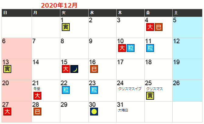 令和2年12月の開運カレンダー
